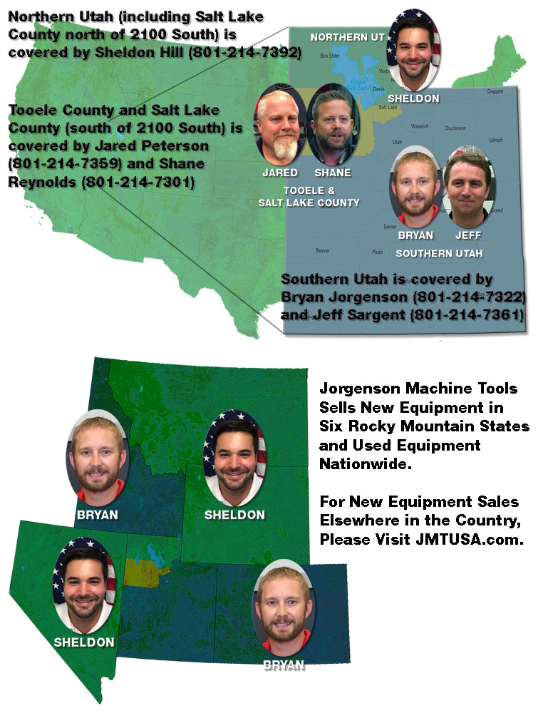 Jorgenson Machine Tools Sales Regions
