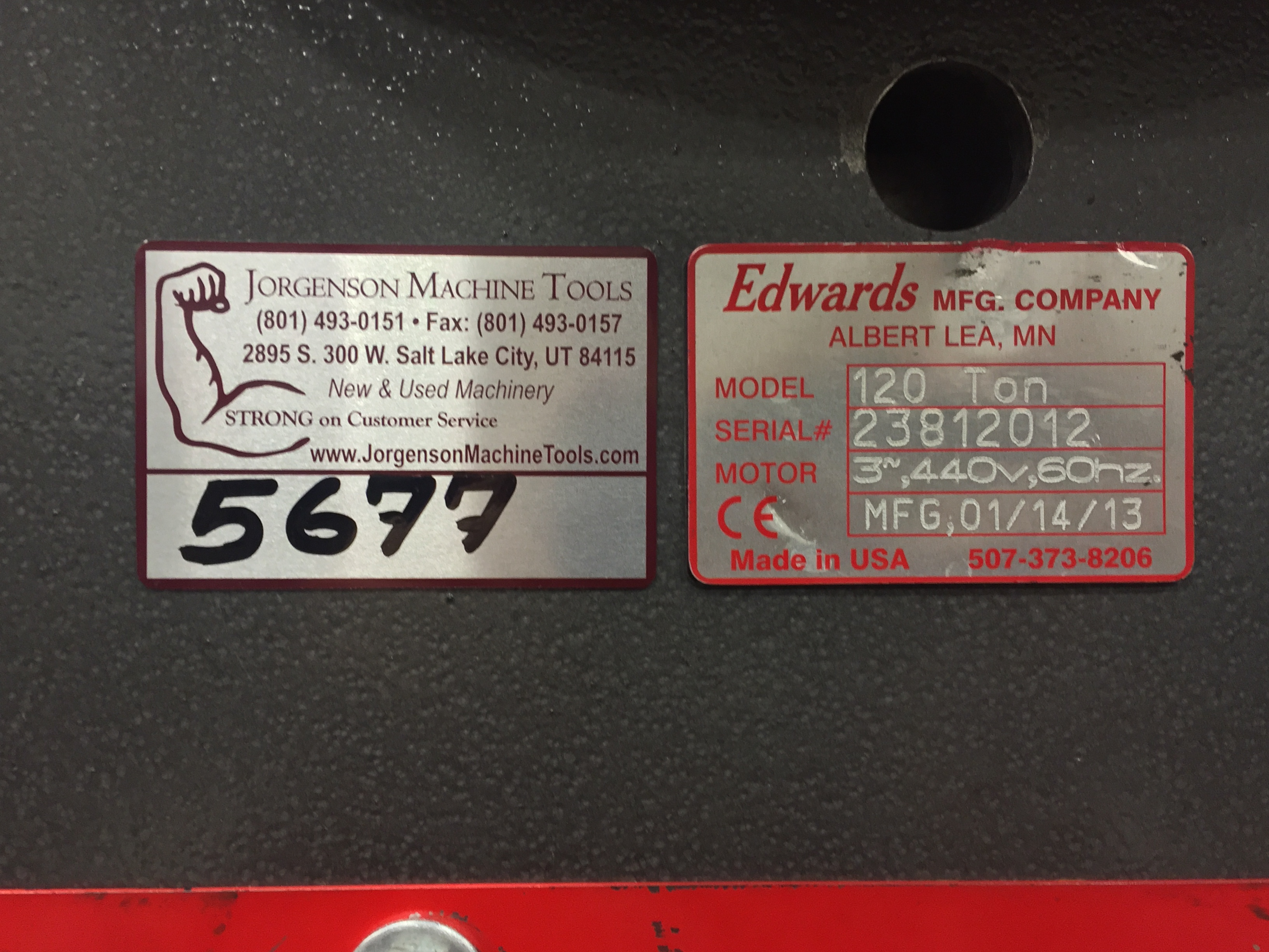 Tool Tags: Edwards 120 Ton Ironworker